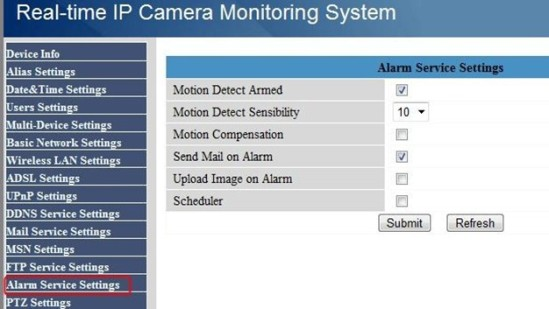 How can I get alarm email on Foscam MJPG camera? | Web